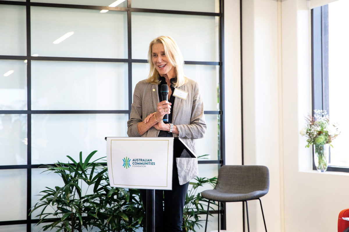 Photo of Jill Reichstein speaking at a lectern. Photo by the Australian Communities Foundation, reproduced with kind permission.