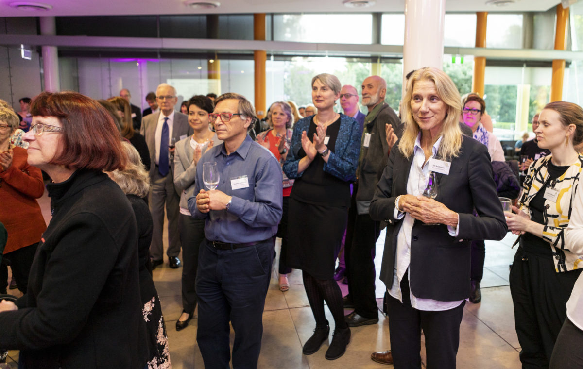 Photo of Jill Reichstein and others at the Australian Environmental Grantmakers Network (AEGN) 10 year anniversary celebration on 24 October 2018.