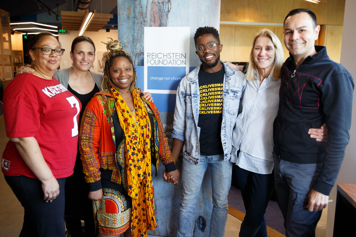 Photo: from left - Dawn Modkins (Co-Founder, Black Lives Matter Longbeach chapter), Belinda Duarte (Trustee, Annamila Foundation), Patrisse Cullors (Co-Founder, Black Lives Matter), Rodney Diverlus (Co-founder Black Lives Matter Toronto), Jill Reichstein (Chair, Reichstein Foundation) and Gregory Phillips (Annamila Foundation) taken at the Koorie Heritage Trust in November 2017 by James Henry.