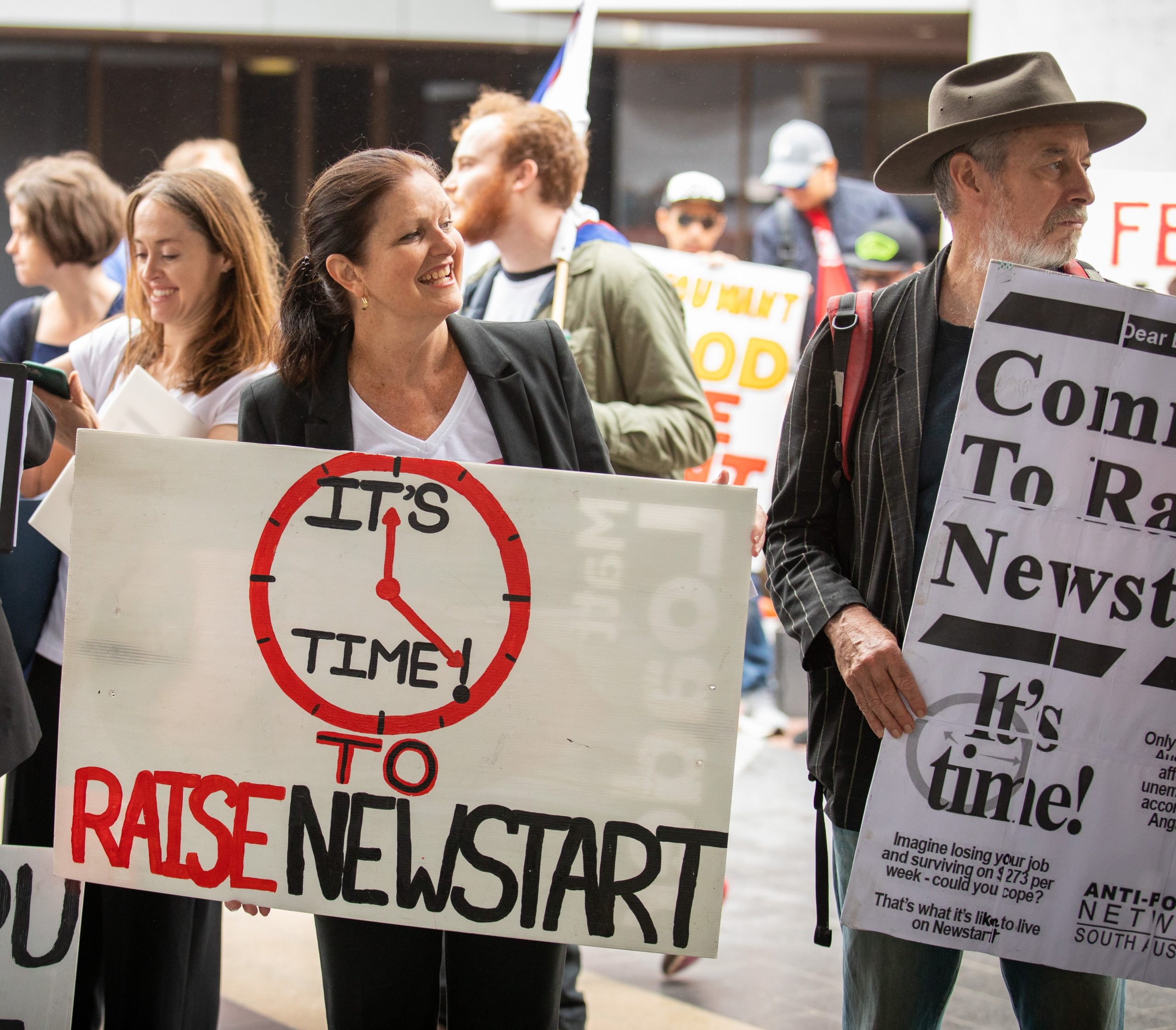 Photo: Cassandra Goldie, CEO of the Australian Council of Social Service (ACOSS), at a rally outside the ALP Conference, urging political leaders to commit to an increase to the Newstart Allowance. ACOSS provided bursaries for Newstart recipients to attend events at the ALP Conference.